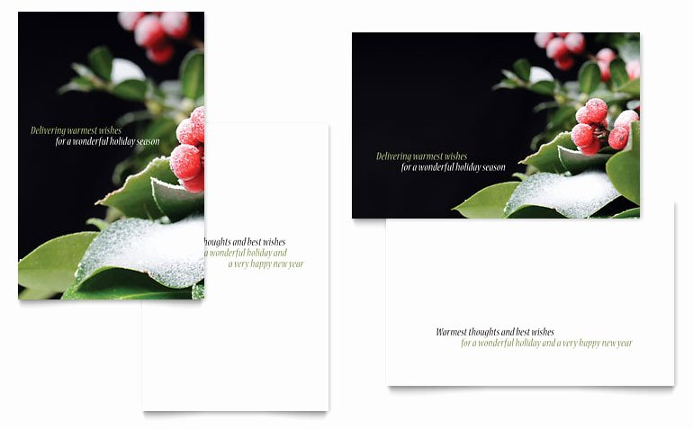 Microsoft Birthday Card Templates New Holly Leaves Greeting Card Template Word & Publisher