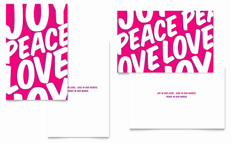 Microsoft Birthday Card Templates Unique Peace Love Joy Greeting Card Template Word & Publisher