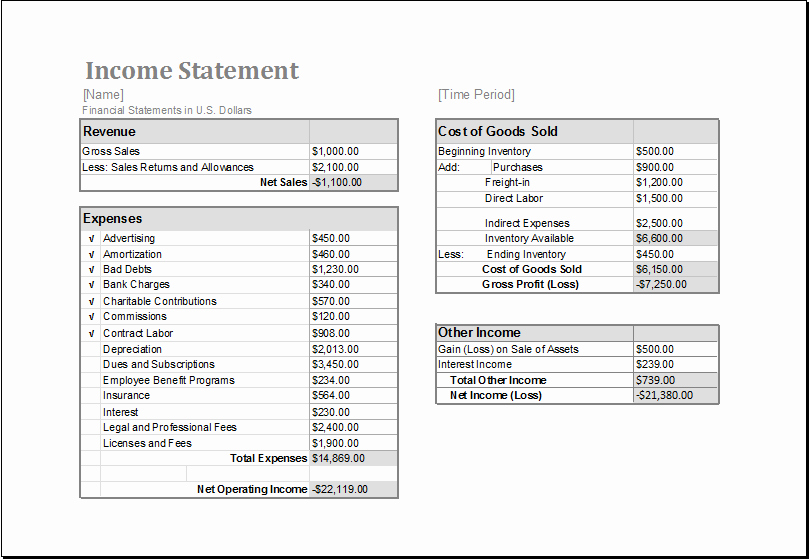 Microsoft Excel Income Statement Template Beautiful Ms Excel In E Statement Editable Printable Template