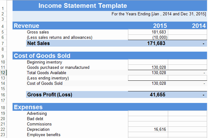 Microsoft Excel Income Statement Template New 5 In E Statement Excel Templates Excel Xlts