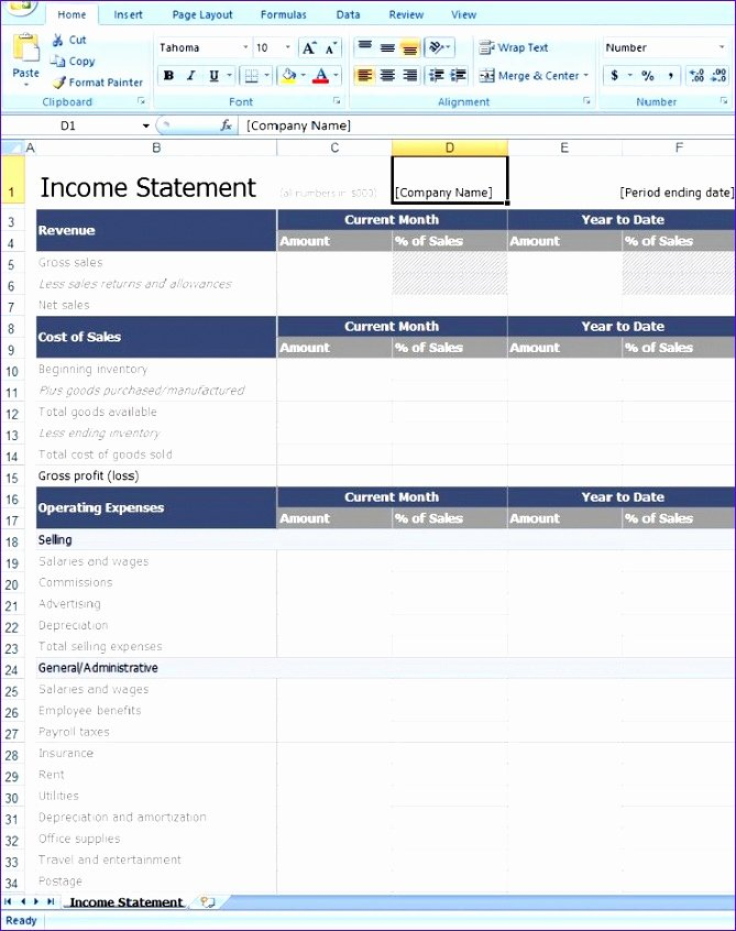 Microsoft Excel Income Statement Template Unique 8 Excel In E Statement Template Exceltemplates