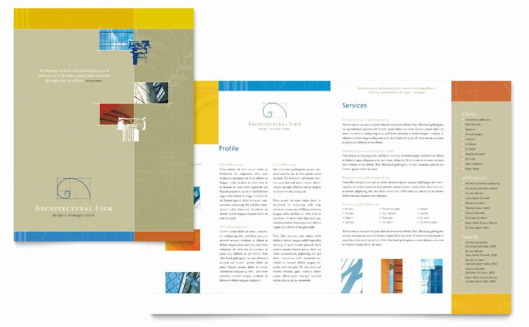 Microsoft Office Brochure Template New Architectural Firm Brochure Template Word & Publisher