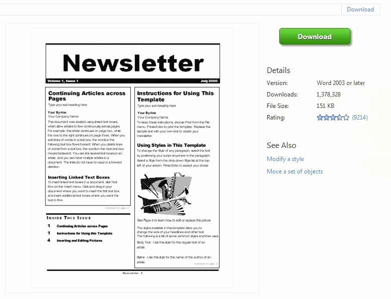 Microsoft Office Newspaper Templates Beautiful Newsletter Templates Word