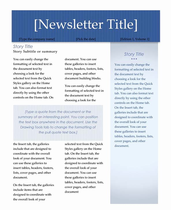 Microsoft Office Newspaper Templates Elegant Microsoft Word Newsletter Templates