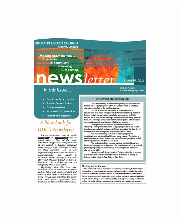 Microsoft Office Newspaper Templates New Sample Fice Newsletter 7 Documents In Pdf