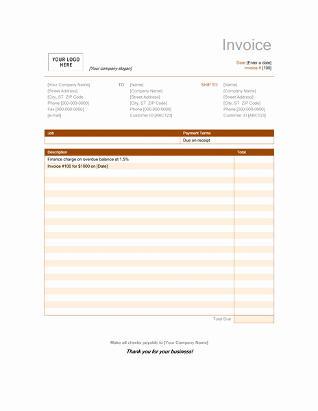 Microsoft Office Receipt Template Lovely Fice Invoice Template