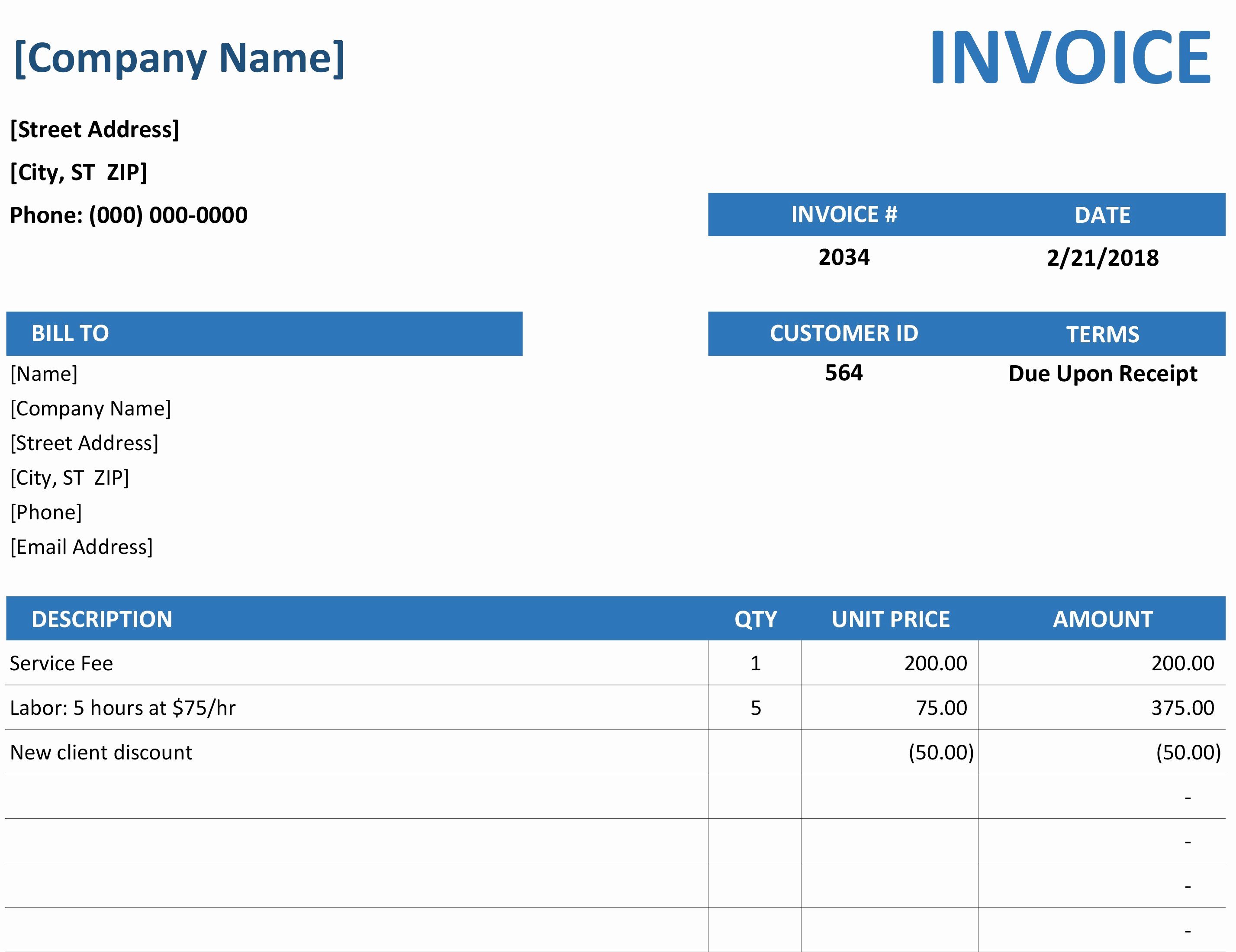 Microsoft Office Receipt Template Luxury Simple Service Invoice