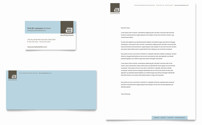 Microsoft Publisher Business Card Template Inspirational Architect Business Card & Letterhead Template Word
