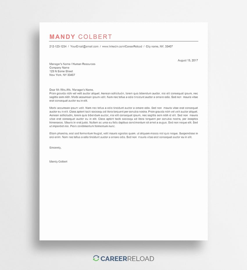 Microsoft Word Cover Letter Templates Unique Free Cover Letter Templates for Microsoft Word Free Download