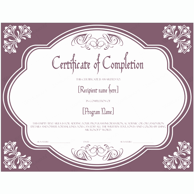 Microsoft Word Diploma Template Elegant Certificate Of Pletion 09 Word Layouts