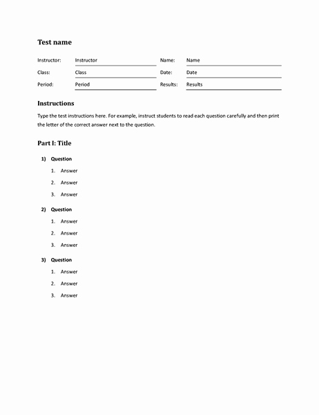 Microsoft Word Quiz Template Unique Blank and General Fice
