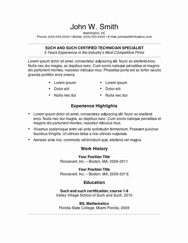 Microsoft Word Resume Example Best Of My Perfect Resume Templates