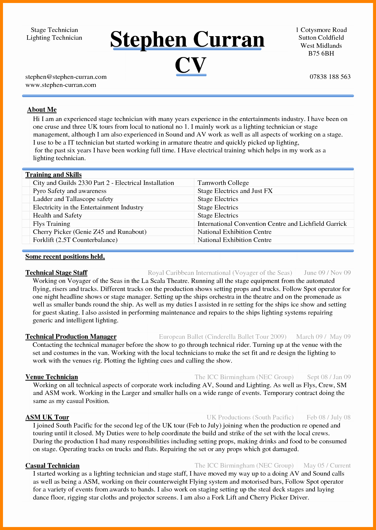 Microsoft Word Resume Example Lovely 6 Curriculum Vitae In Ms Word