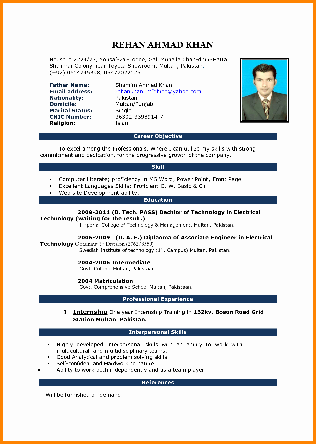 Microsoft Word Resume Example Luxury 5 Cv Samples Word File