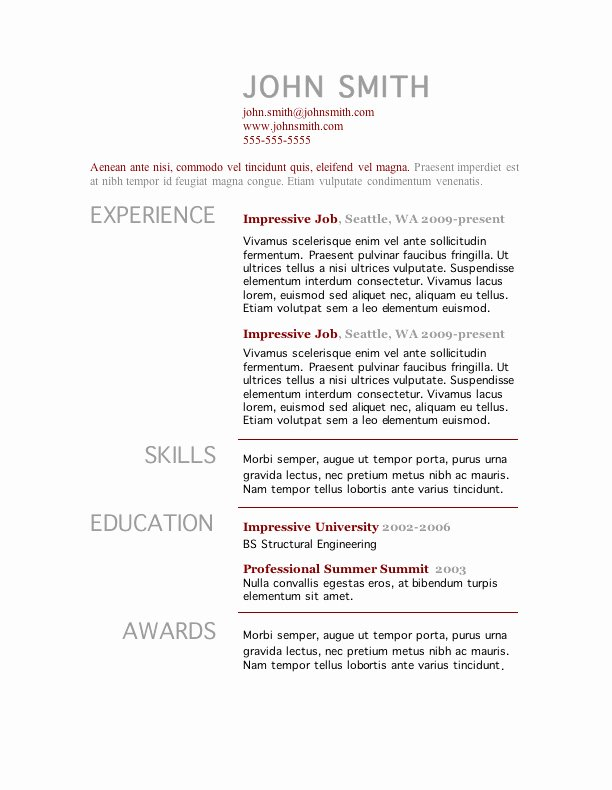 Microsoft Word Resume Example New 7 Free Resume Templates