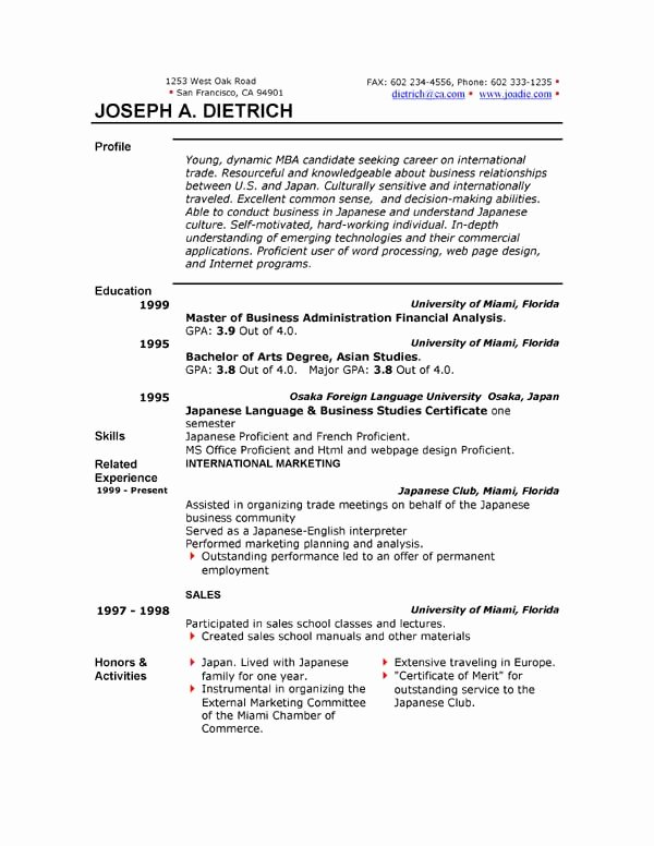 Microsoft Word Resume Example Unique Free Resume Template Downloads