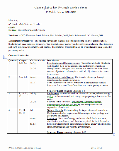 Middle School Science Syllabus Template Awesome Back to School Middle School Syllabus Template Good