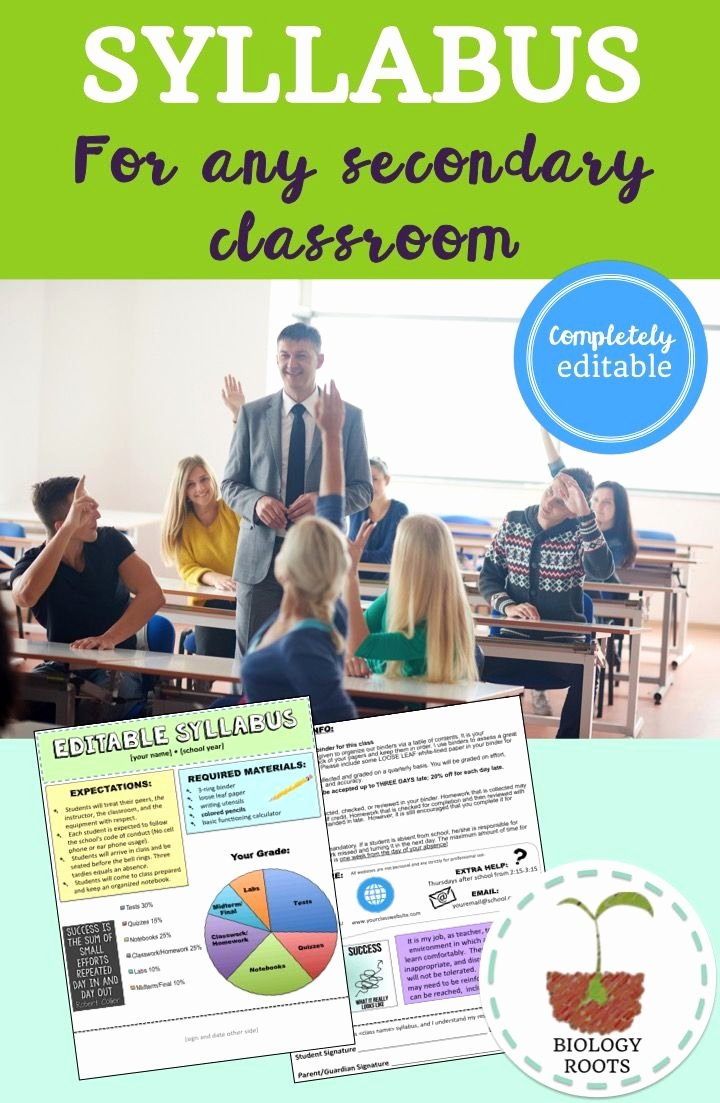 Middle School Science Syllabus Template Elegant Editable Syllabus Template