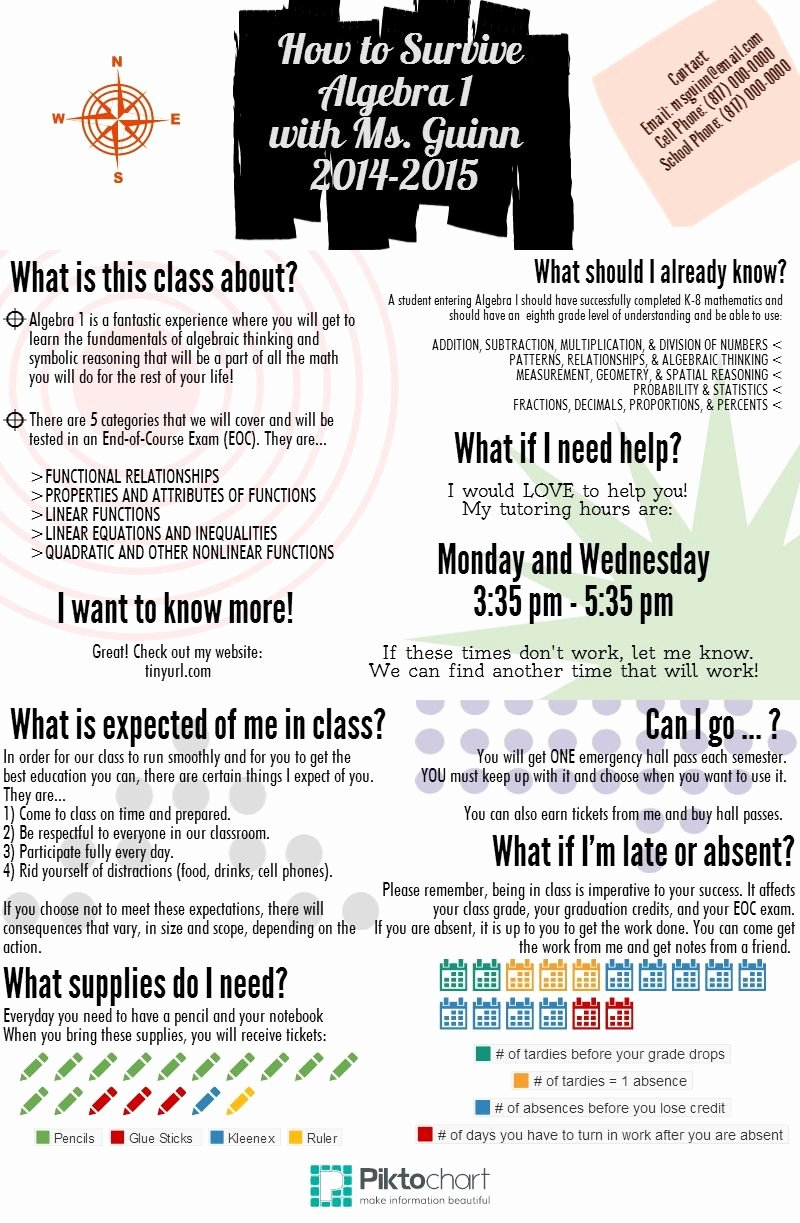 Middle School Science Syllabus Template Fresh Algebra 1 Syllabus Front Piktochart Infographic