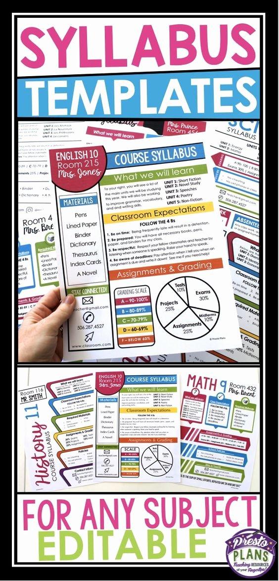 Middle School Science Syllabus Template Fresh Syllabus Editable Templates Teaching