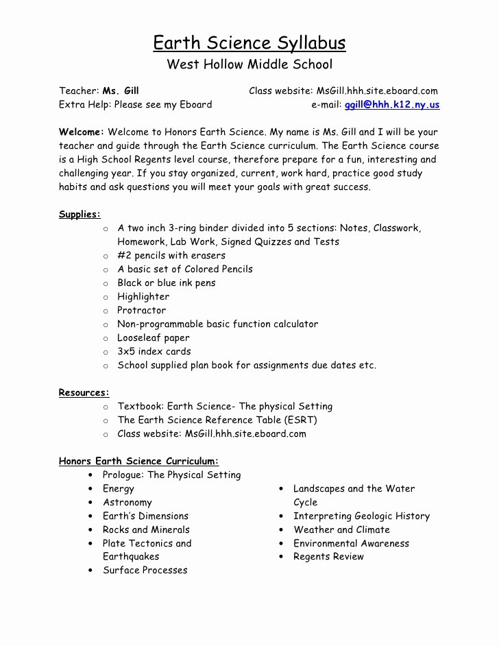 Middle School Science Syllabus Template Inspirational Syllabus Earth Science