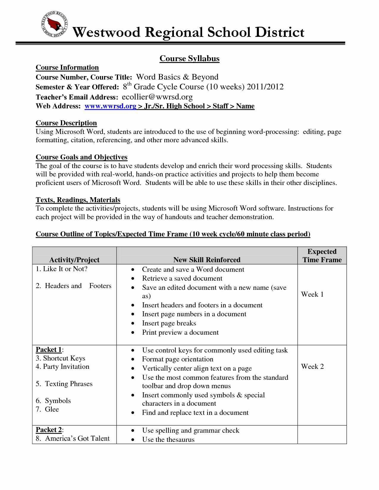 Middle School Science Syllabus Template Luxury High School Syllabus Example High School Syllabus Middle