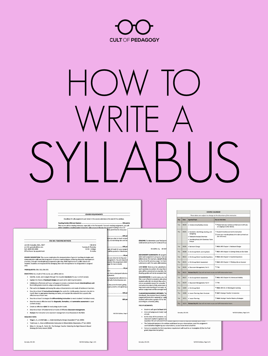 Middle School Science Syllabus Template New How to Write A Syllabus