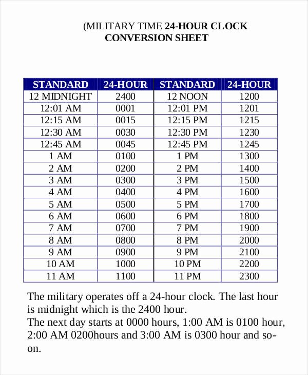 Military Time Conversion Sheet Beautiful 7 Time Conversion Chart Examples In Pdf