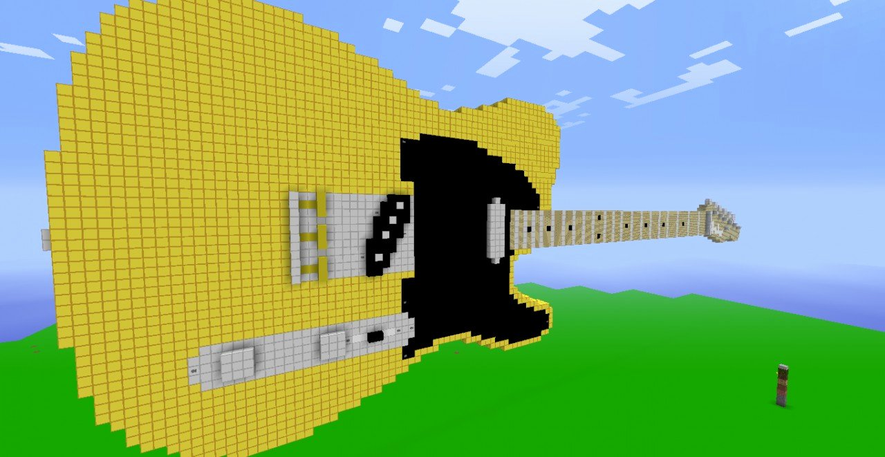 Minecraft 3d Pixel Art Luxury 3d Pixel Art Fender Telecaster Guitar Minecraft Project
