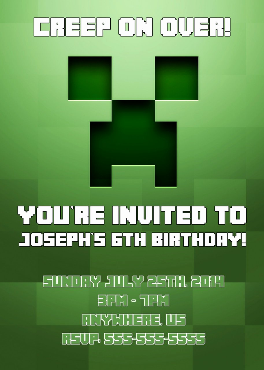 Minecraft Birthday Invitations Free Beautiful Minecraft Birthday Invitations Partyexpressinvitations