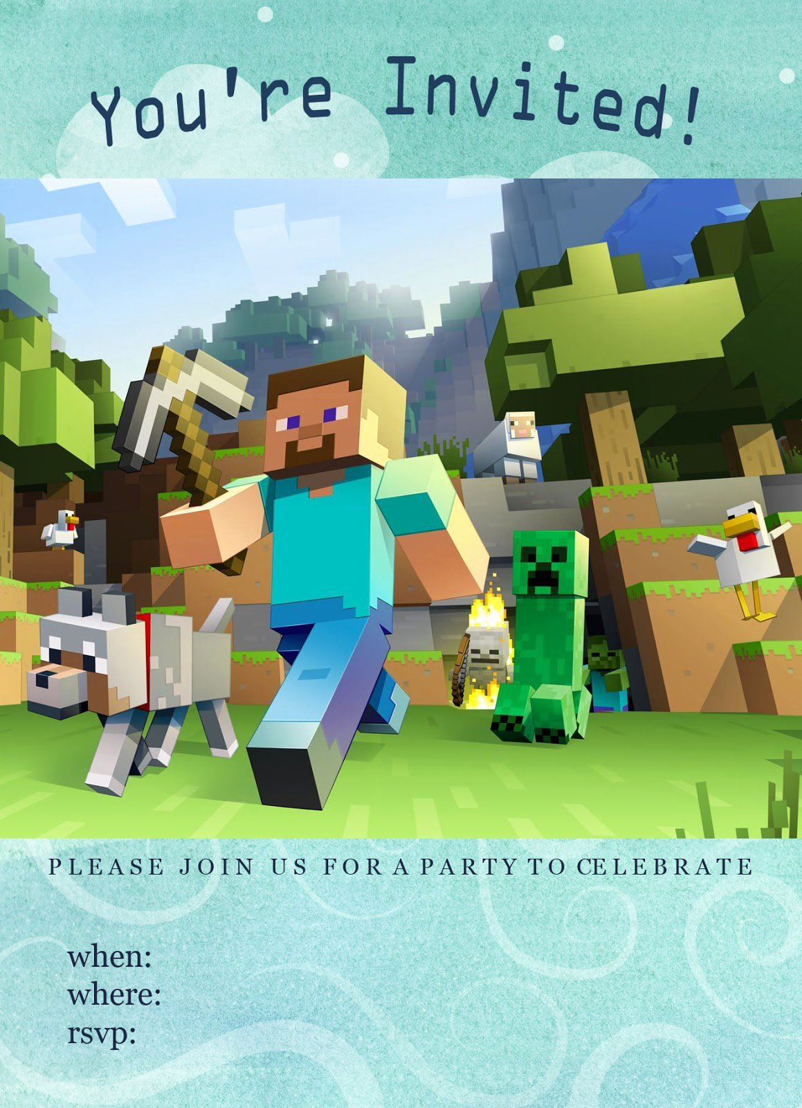 Minecraft Birthday Invitations Free Best Of Minecraft Birthday Party Invitations Free