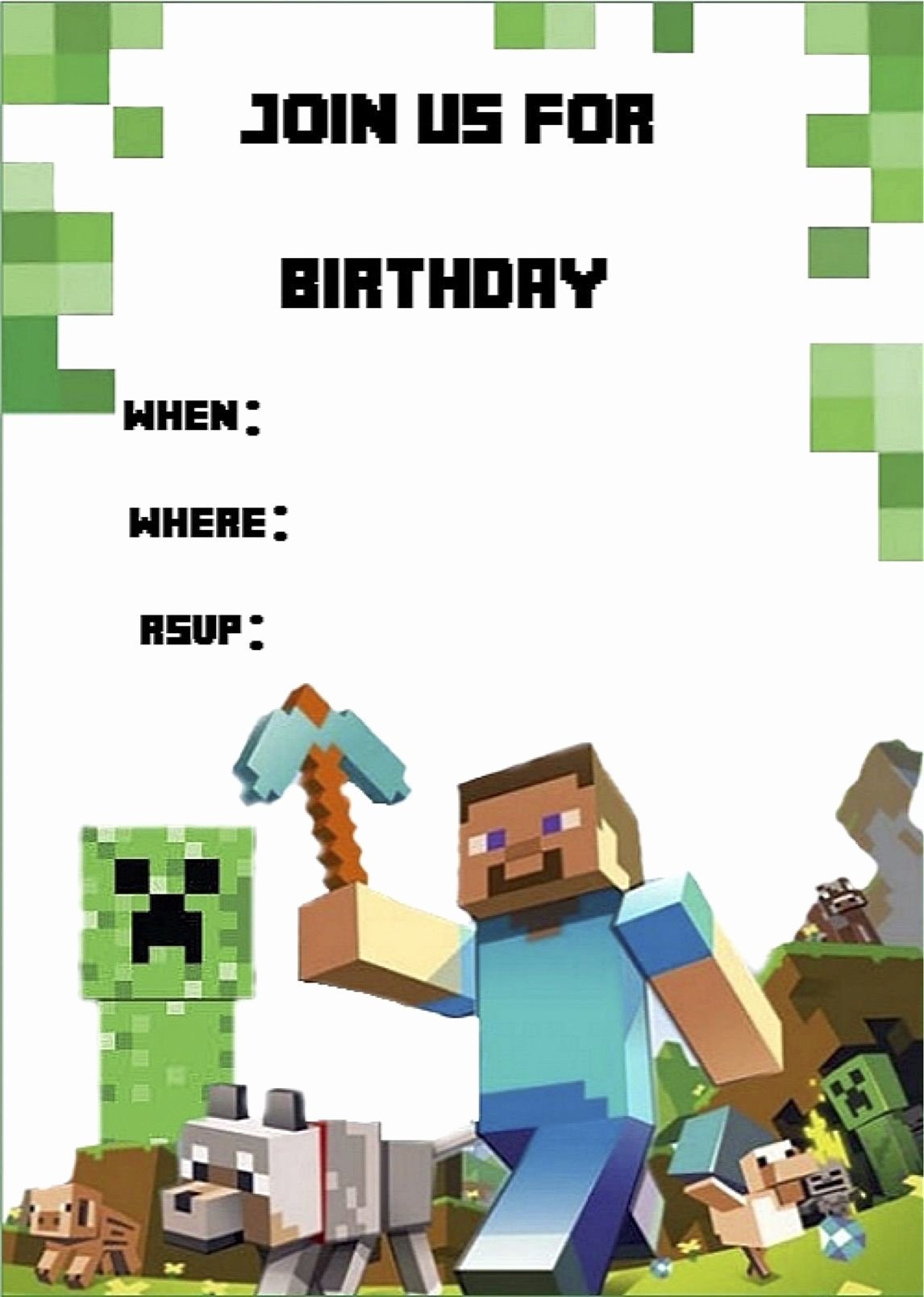 Minecraft Birthday Invitations Free Best Of Minecraft Invite Minecraft Party