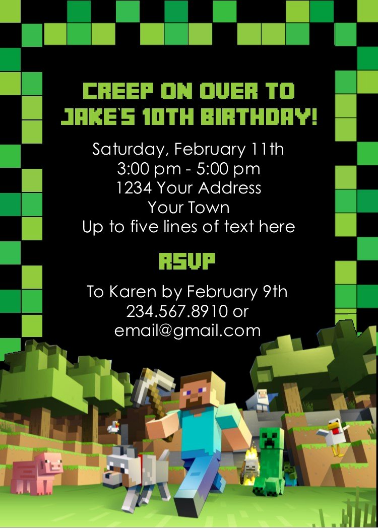 Minecraft Birthday Invitations Free Lovely Minecraft Party Game Printable Scavenger Hunt