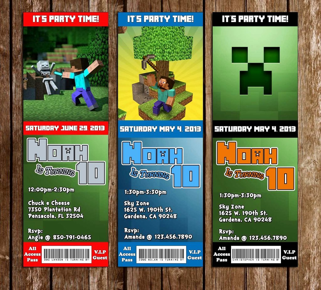 Minecraft Birthday Invitations Free Lovely Novel Concept Designs Minecraft Ticket Birthday