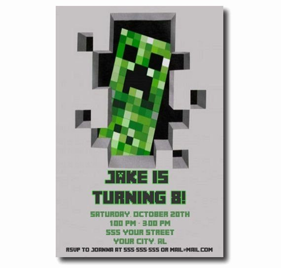 Minecraft Birthday Invitations Free Luxury 1000 Images About Minecraft Party Invites & Notes On