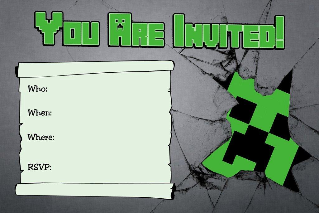 Minecraft Birthday Invitations Free Unique Novel Concept Designs Free Minecraft Creeper Inspired