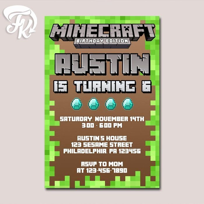 Minecraft Birthday Invite Template Awesome 27 Of Minecraft Birthday Invitation Card Template