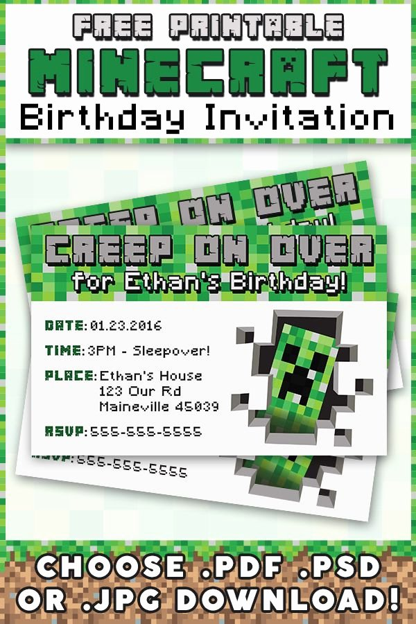 Minecraft Birthday Invite Template Awesome Free Minecraft Printable Invitation