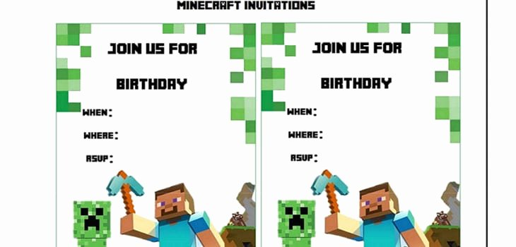 Minecraft Birthday Invite Template Awesome Minecraft Birthday Invitation Printable Free