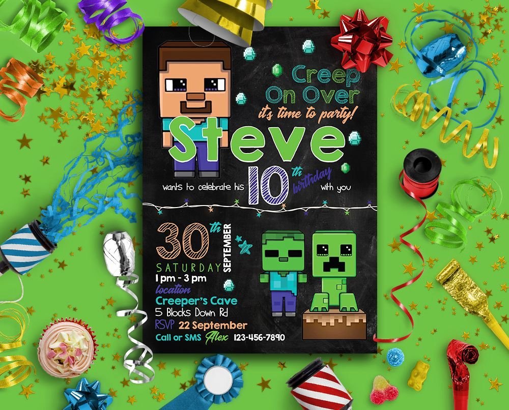 Minecraft Birthday Invite Template Awesome Minecraft Invitation Minecraft Party