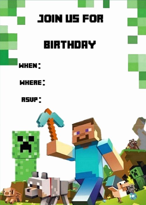 Minecraft Birthday Invite Template Awesome Templates for Minecraft Party Invitations