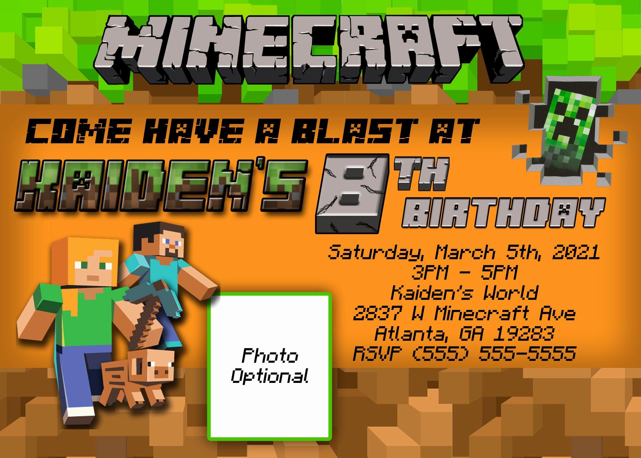 Minecraft Birthday Invite Template Beautiful Minecraft Birthday Invitation