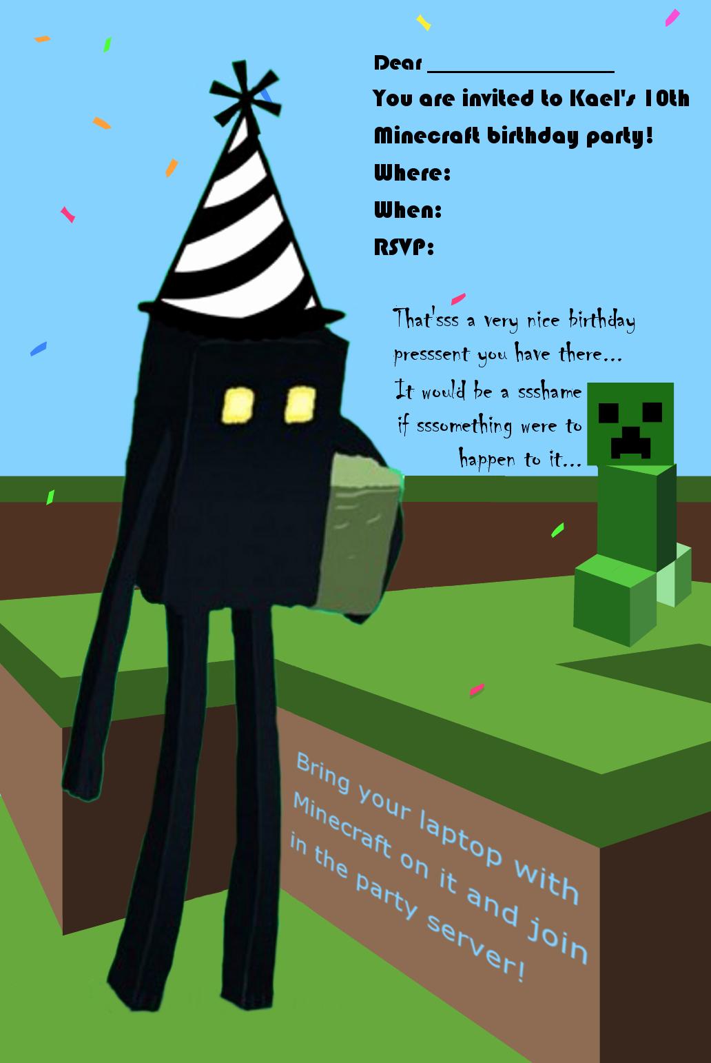 Minecraft Birthday Invite Template Beautiful Minecraft Birthday Invitations