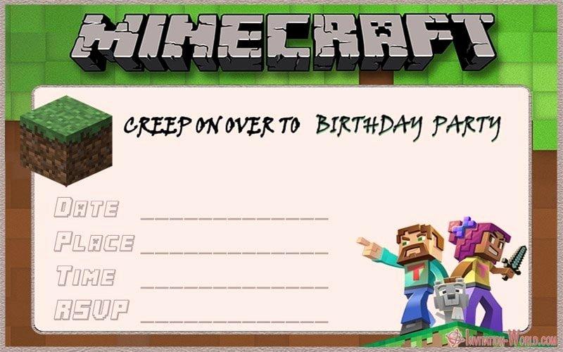 Minecraft Birthday Invite Template Elegant 12 Printable Minecraft Invitation Templates
