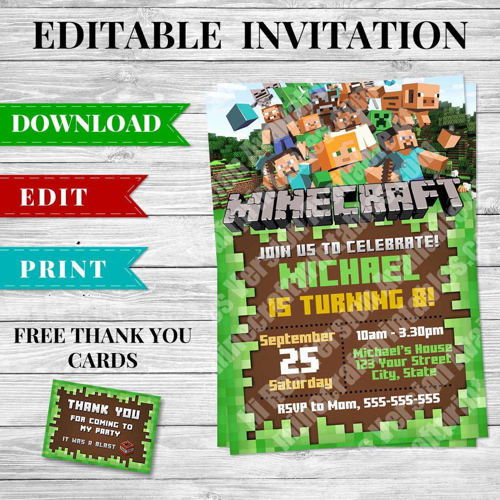 Minecraft Birthday Invite Template Elegant Printable Minecraft Invitation Pdf Design 2 Minecraft