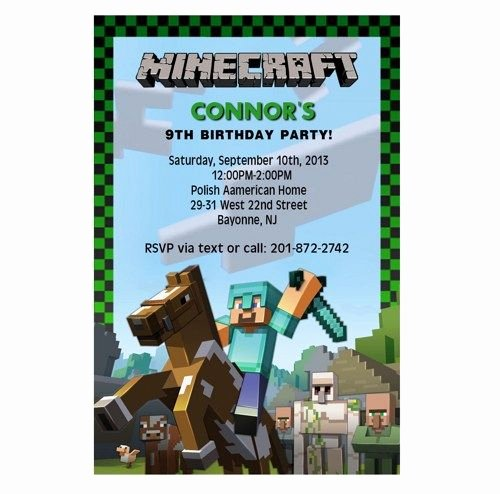 Minecraft Birthday Invite Template Fresh Minecraft Birthday Party Invitation Wording Ideas