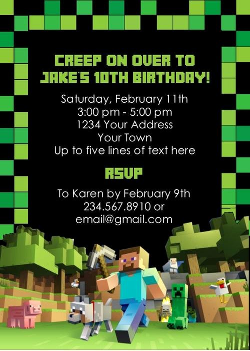 Minecraft Birthday Invite Template Fresh Minecraft Party Invitation Editable — Partygamesplus