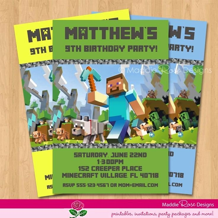Minecraft Birthday Invite Template Inspirational Free Printable Minecraft Birthday Invitations Cakepins