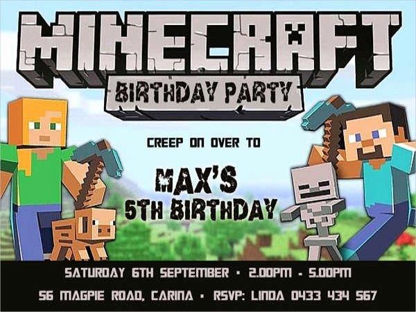 Minecraft Birthday Invite Template Inspirational Minecraft Birthday Invitation Template
