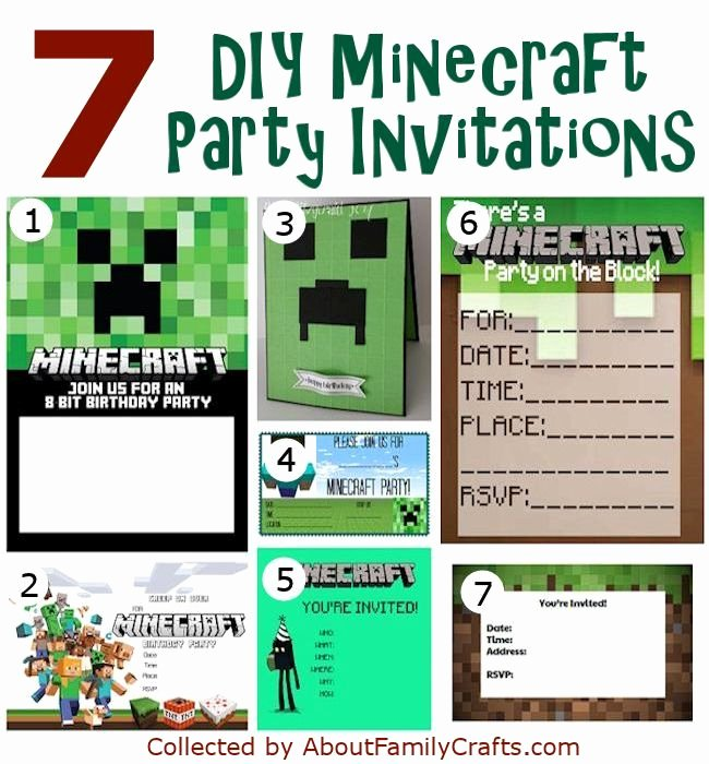 Minecraft Birthday Invite Template Lovely 50 Diy Minecraft Birthday Party Ideas – About Family Crafts